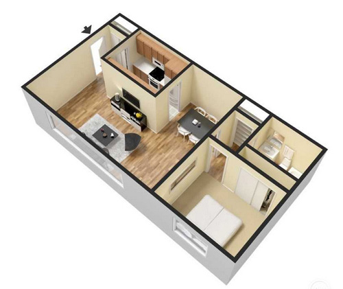 One Bedroom Apartment   710 Sq Ft