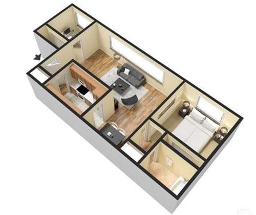 1 bedroom apartment - 850 sq ft
