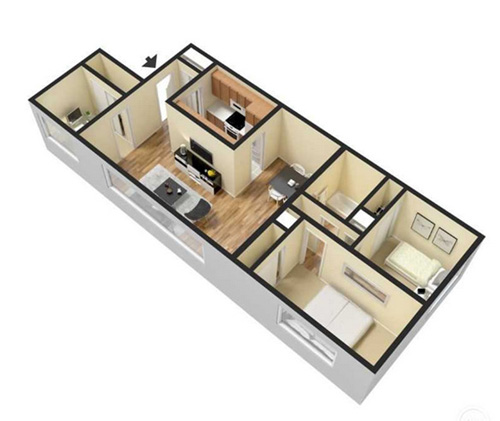 two bedroom apartment with den - 960 sqft